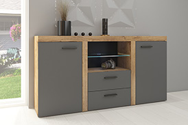 Chest of drawers RUMBA GRDL20 graphite/oak lefkas