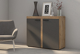 Chest of drawers RUMBA GRDL21 graphite/oak lefkas