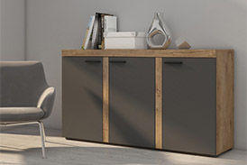 Chest of drawers RUMBA GRDL22 graphite/oak lefkas