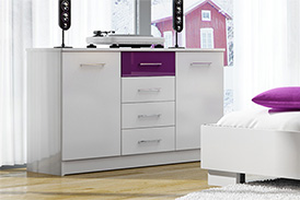 Chest of drawers DUBAJ WHITE/PURPLE GLASS