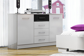 Chest of drawers DUBAJ WHITE/BLACK GLASS