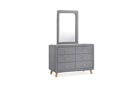Chest of drawers with mirror MALMO grey/oak