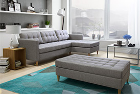 Scandinavian Corner Sofa PIRES with a large pouf