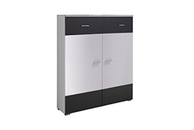 WE4 WENECJA CHEST OF DRAWERS WHITE/WHITE GLOSS, GRAPHITE GLOSS